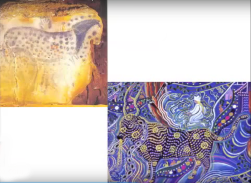 Dotted bull in cave and contemporary shamanistic art