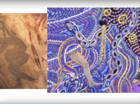 Human wrapped in serpent in cave and contemporary shamanistic art